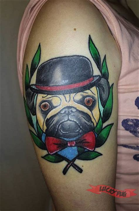 lucky you tattoo color arm pug tattoos picture gallery sleeve pug