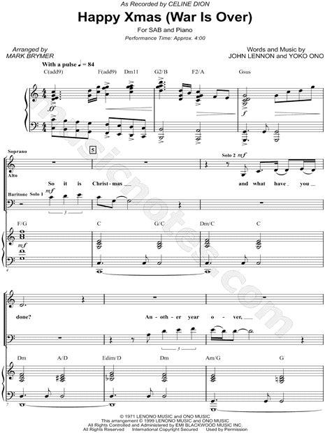 celine dion happy xmas war   arr mark  brymer sab choir piano choral sheet