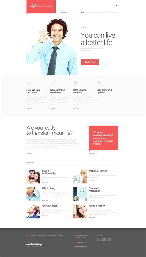 website templates for life coaches life coach responsive website template 47101