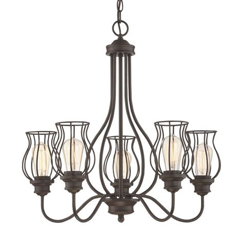Western Chandelier Shop Quoizel Baroness 25 In 5 Light Western Bronze Cage Chandelier At Lowes
