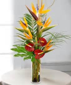 Bird Of Paradise Flower Arrangement Vase Tropical Escape Bouquet Exotic Flowers Carithers Florist