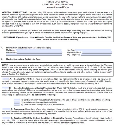 template for a living will 10 living will form free pdf sle templates