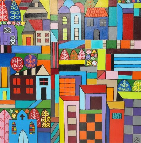 House Plans With Casitas urban landscape 1 painting by elizabeth langreiter