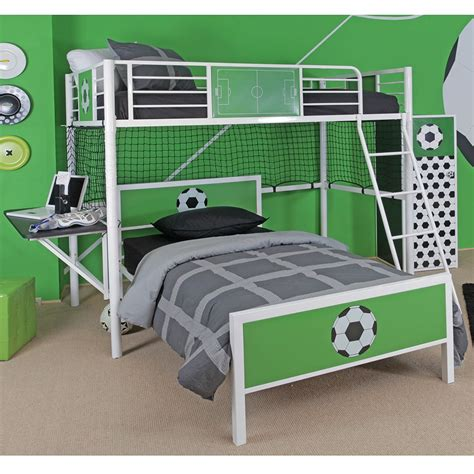 soccer bed powell furniture 14y2015lb goal keeper soccer theme twin