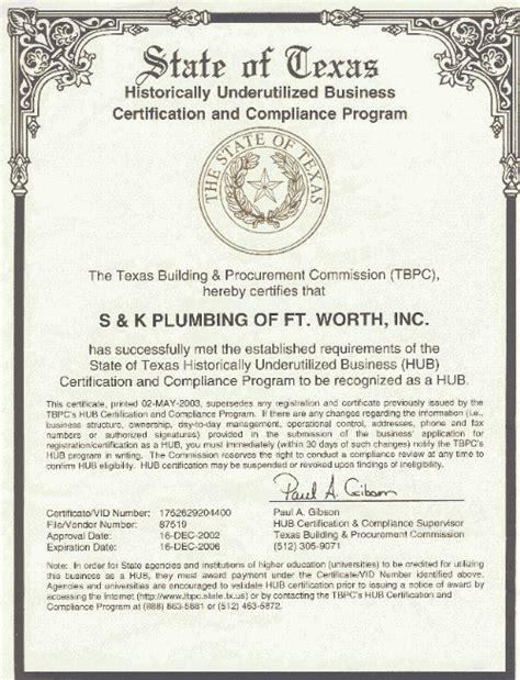 Plumbing Certification by About S K Plumbing Hub