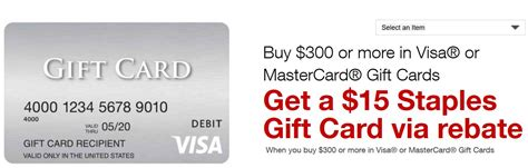 15 Dollar Visa Gift Card - staples rebate actually a visa gift card buy 300 in visa or mastercard gift cards