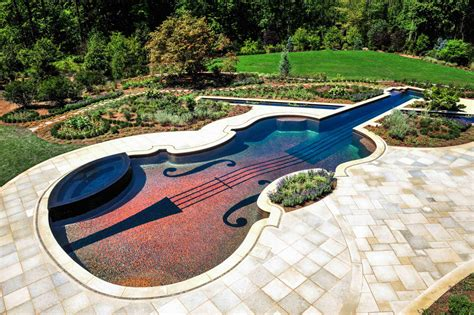 amazing backyards amazing stradivarius violin swimming pool creates backyard fantasy captivatist