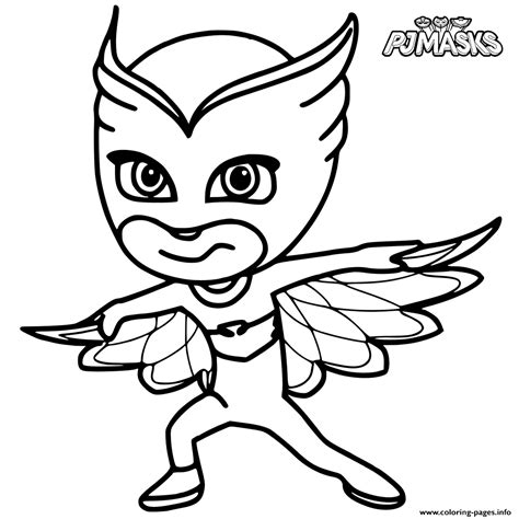 printable owlette mask colour in owlette from pj masks coloring pages printable