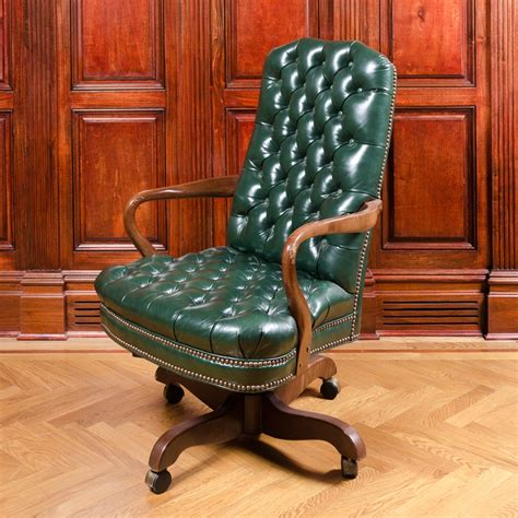 tufted leather office chair vintage vintage tufted green leather office chair ebth