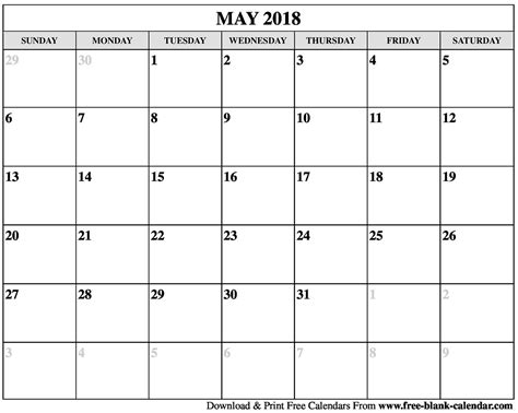 printable calendar may 2018 blank may 2018 calendar printable