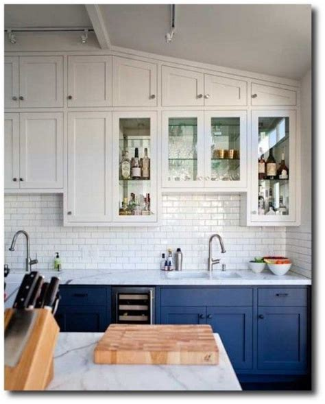 White Kitchen Cabinets Photos two toned kitchen cabinets i like the glass doors but