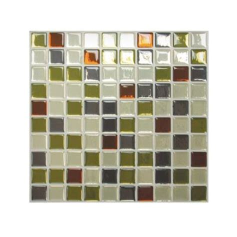 Decorative Wall Tiles Kitchen Backsplash Smart Tiles 9 85 In X 9 85 In Mosaic Adhesive Decorative Wall Tile Backsplash Idaho In Grey