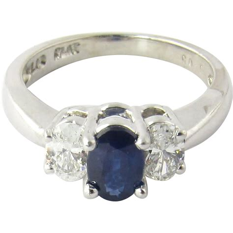 vintage platinum and sapphire ring size 5 from