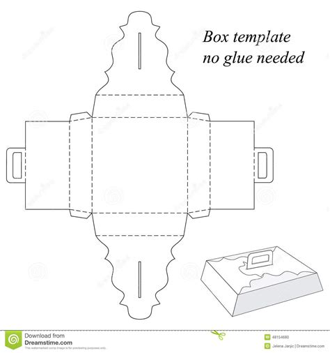 handle box template gift box with handle without gluing stock vector