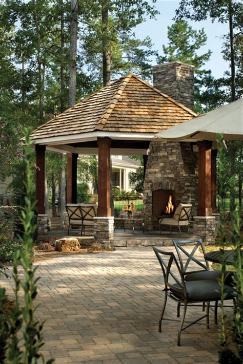 this gazebo with fireplace