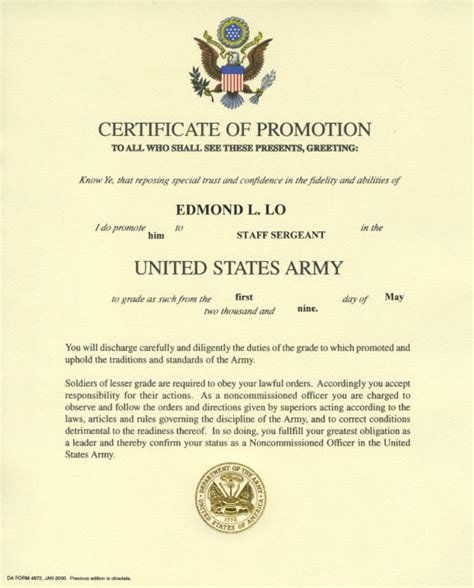 army promotion certificate template awards and certificates memories of edmond lo