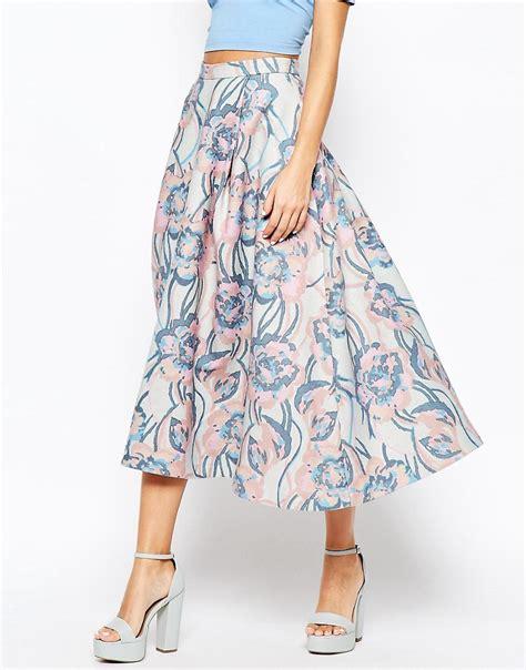 asos asos premium wool midi skirt in winter pastel