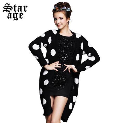 Dress Cardigan Polkadot s 5xl brand black white polka dot knitted sweater woolen cardigan 2015 plus