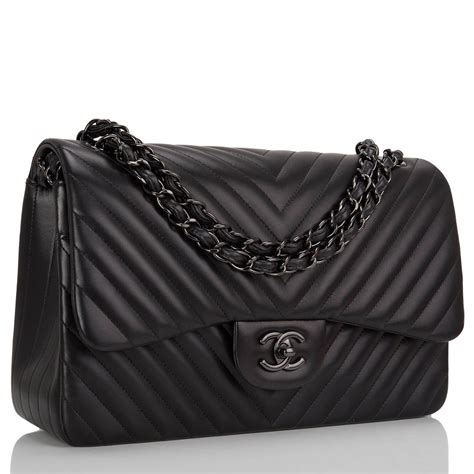 Price Chanel Bag Original chanel so black chevron jumbo flap bag black