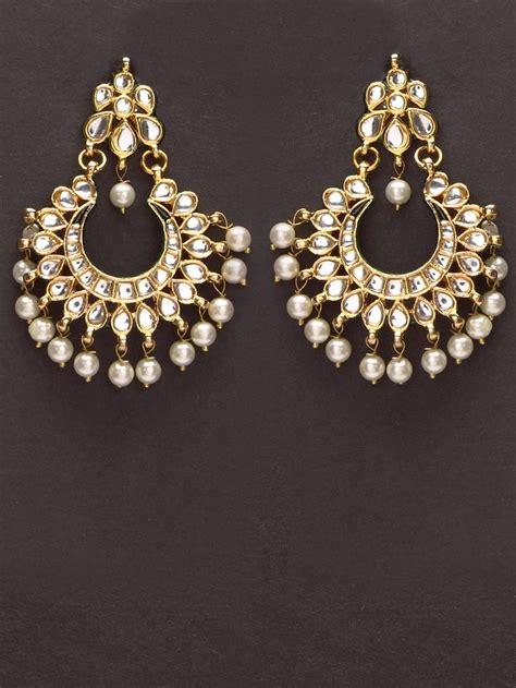 design earrings online pretty golden kundan earrings with pearl drops by indian
