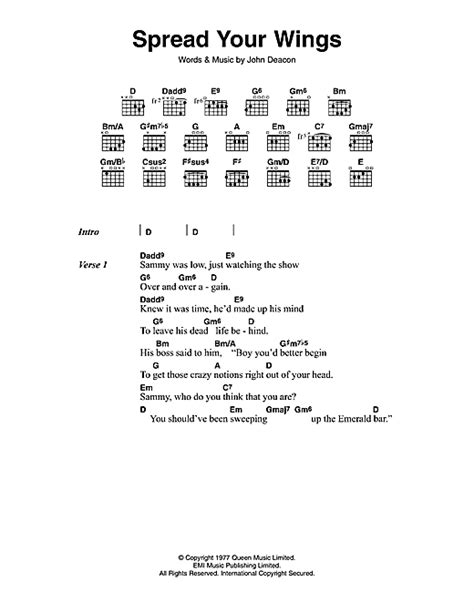 printable wings lyrics spread your wings sheet music by queen lyrics chords