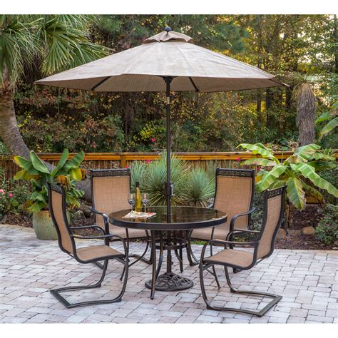 Outdoor Patio Dining Sets With Umbrella Monaco 5pc Outdoor Dining Set With C Chairs Glass Top Dining Table 9 Ft Table Umbrella