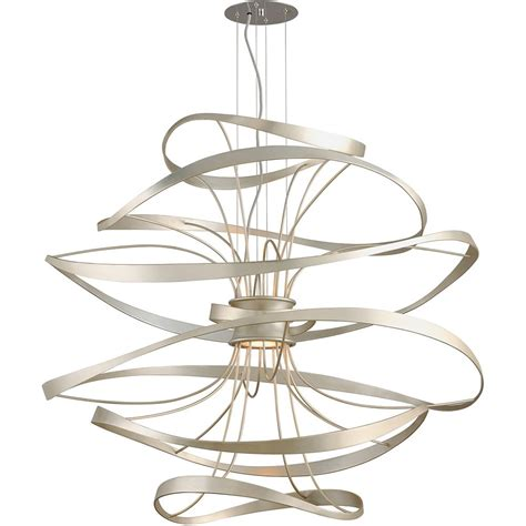 Silver Pendant Light Fixtures Corbett 213 44 Calligraphy 2 Light Large Pendant In Silver Leaf Polished Stainless