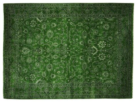 5 x7 wool and silk forest green kashan rug