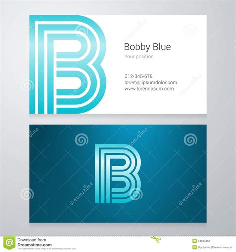 business card icon template letter b business card template stock vector image 54583453