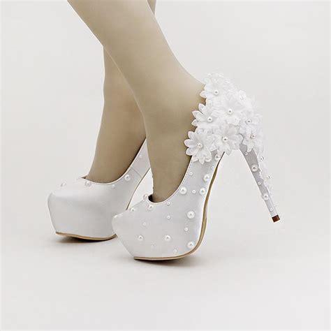 beautiful white satin flowers bridal shoes stiletto