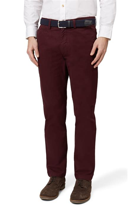 moss 1851 mens wine chinos tailored fit cotton