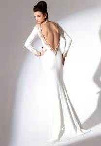 fitted v neck low back sleeve white chiffon gold beaded evening prom dress