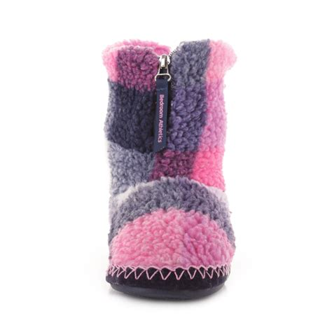 bedroom athletics macgraw womens slippers navy pink ebay womens bedroom athletics macgraw navy pink check fleece