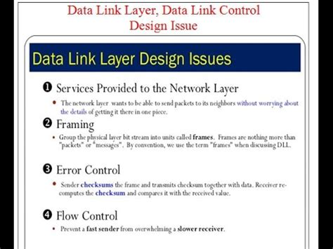 design issues of data link layer data link layer data link control design issue youtube
