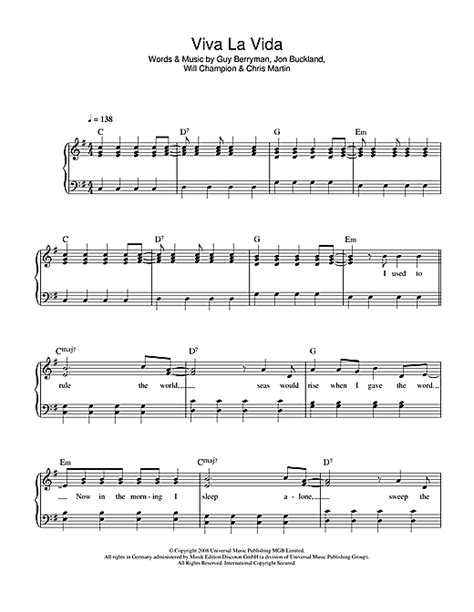 tutorial piano viva la vida coldplay viva la vida sheet music piano pinterest viva la