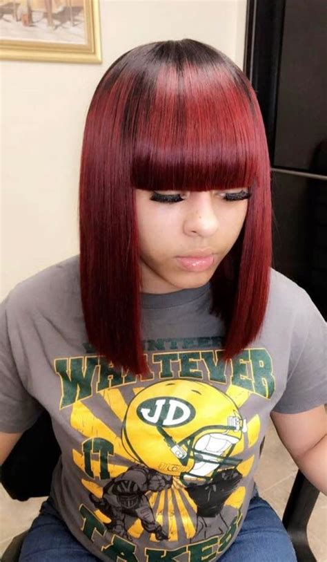colored sew in weave sew in weave colored burgundy with bangs bob shoulder