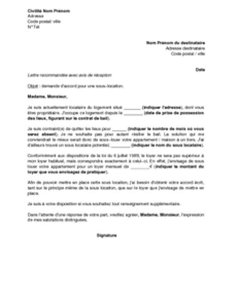 Demande De Location Appartement Lettre Exemple Gratuit De Lettre Demande Autorisation Sous Location Logement