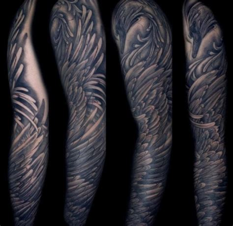 tattoo feather sleeve amazing sleeve by hannah keus at good times tattoos swan
