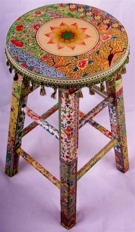 Decoupage Stool - boho stool cool diy idea diy diy