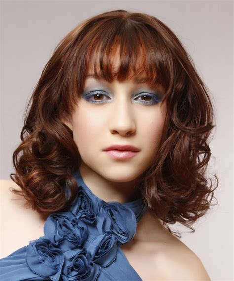 medium wavy formal hairstyle with layered bangs auburn