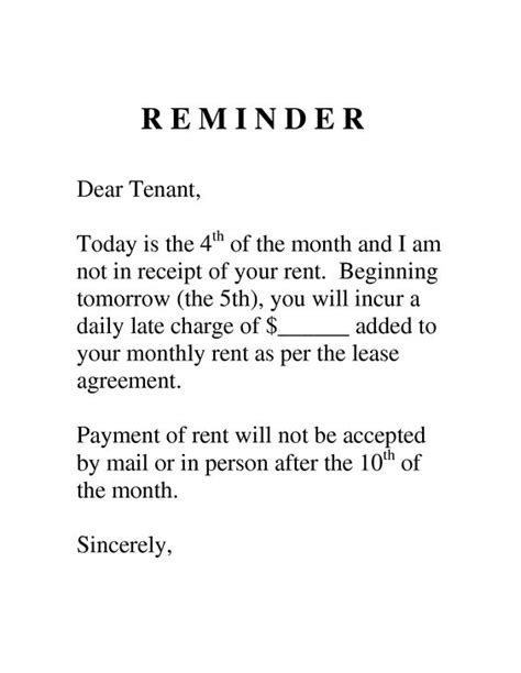 Rent Reminder Letter Template Sle Letter To Tenant For Late Payment Search Sawgrass Search