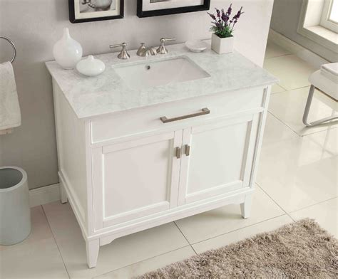 37 Bathroom Vanity Adelina 37 Inch Contemporary White Finish Bathroom Vanity