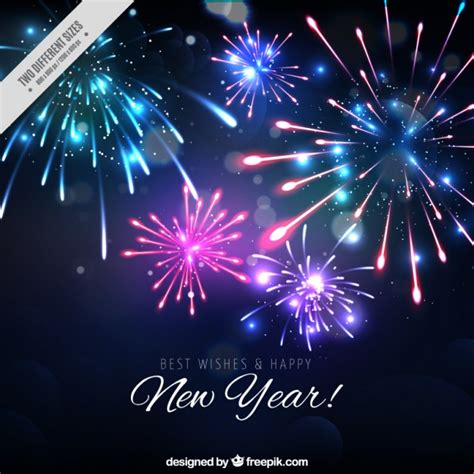 new year fireworks background of bright new year fireworks vector free