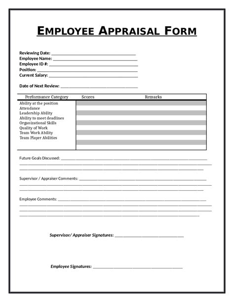 evaluation and performance appraisal template and form for staff