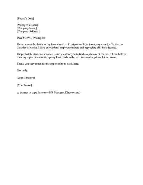 two week notice template simple resignation letter two week notice picpicgoo