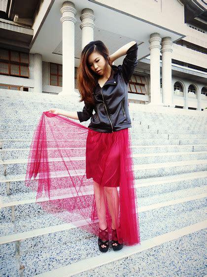 Ella Maroon ella g black leather jacket maroon tulle maxi skirt