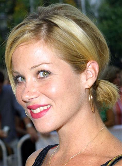 short hair on top and sides poney tail in back christina applegate beauty riot