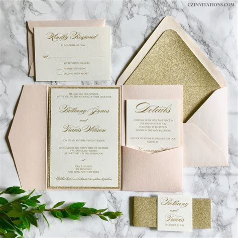 Wedding Pocket Invitations by Blush And Gold Glitter Pocket Wedding Invitations With Glitter