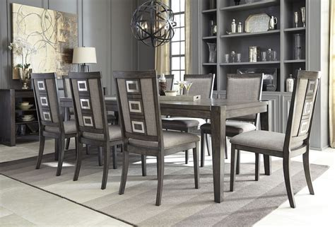 grey dining room set chadoni gray rectangular extendable dining room set d624 35