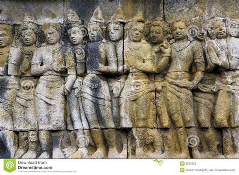 bas relief  borobudur temple indonesia stock
